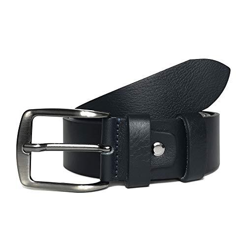 MYB Cintura per uomo 100% in vera pelle - Made In Italy - senza cuciture - diversi colori e misure (95-110 cm, Blu notte)
