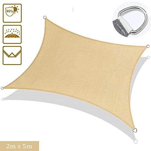 CNMZ Waterproof Triangle Rectangle Sun Shade Sail Anti-UV Sunshade for Courtyard Garden Outdoor Camping Awning Shade Cloth,2m x 5m