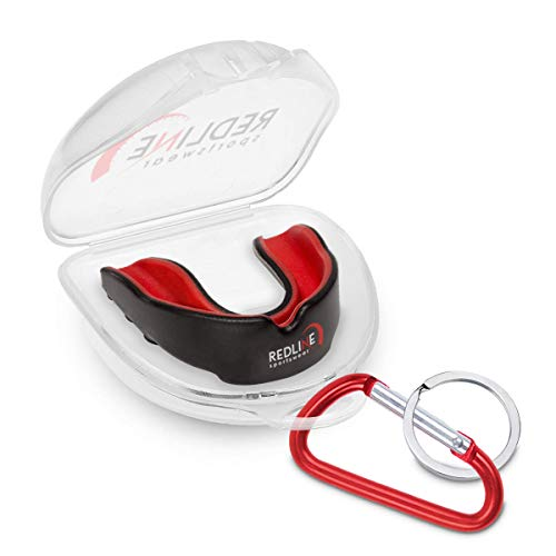 Redline Sportswear Custom Molded Mouthguard w/Case | Youth - Adult - Braces | Best Protection for MMA, Boxing, BJJ, Lacrosse, Football, Hockey and Other Sports | BPA Free (Red & Black)