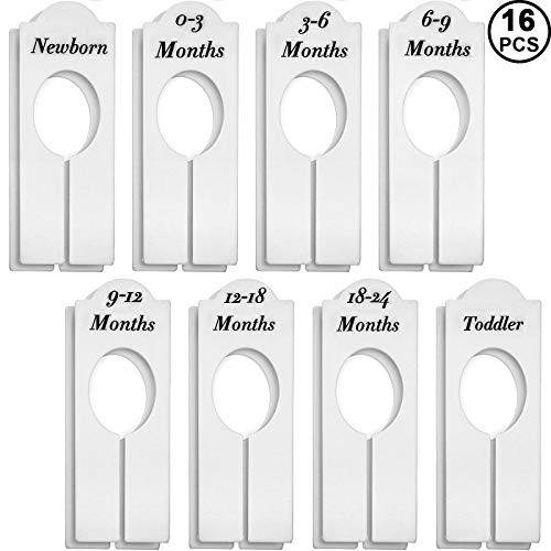 WILLBOND Closet Dividers Baby Nursery Clothing Rack Size Dividers Boy Girl Closet Organizer Dividers with Sizes Newborn to 18-24 Months (16 Pieces)