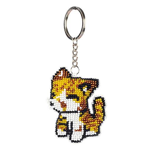 Porte-clés à faire soi-même, kit de broderie au point de croix, perles en forme de chat imprimées, porte-clés pour femme, fille, porte-monnaie, pendentif, décoration de sac à main