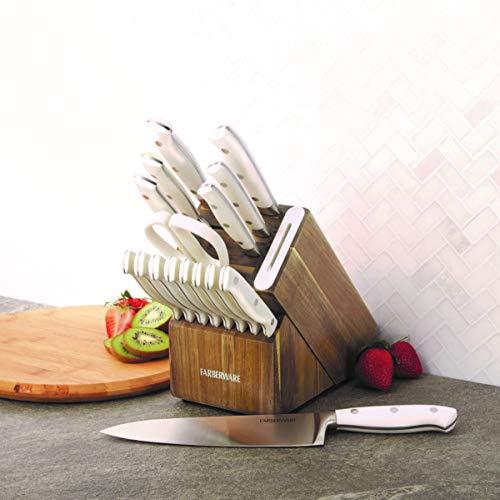 Farberware Edgekeeper 16-Piece Stainless Steel Block Set with Built in Knife Sharpener, Acacia