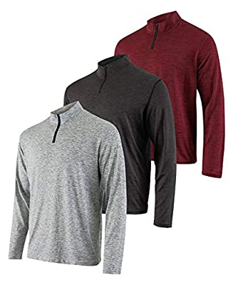 Mens Quarter 1/4 Zip Pullover Long Sleeve Athletic Quick Dry Dri Fit Shirt Gym Running Performance Golf Half Zip Top Thermal Workout Sweatshirts Sweater Jacket - 3 Pack-Set 3,XL