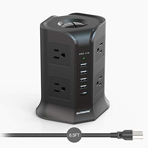 Power Strip Tower SAFEMORE Smart 8-Outlet 4-USB Surge Protector Desktop Power Plug Electrical Charging Station with 6.5ft Long Extension Cord 100-240V Outlet USB Tower for Home Office(Black)