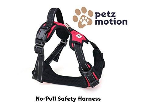 Petzmotion Sicherheits-Hundegeschirr, verstellbar, reflektierend, mit Griff, strapazierfähig, atmungsaktives Material … (Mittel, Rot)