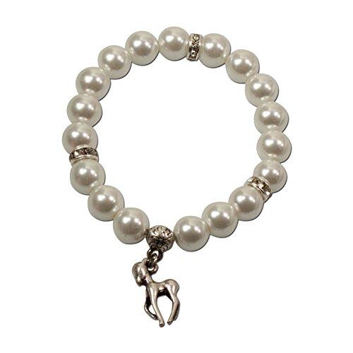 Alpenflüstern Perlen-Trachten-Armband Bambi-Rehkitz - Damen-Trachtenschmuck, elastische Trachten-Armkette, Perlenarmband Creme-weiß DAB014