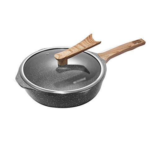Poêle à frire Gourmet | Wok antiadhésif | Poêle en alliage d'aluminium | avec couvercle en verre trempé et poignées antidérapantes en silicone Rest-Cool | Convient à toutes les plaques à induction