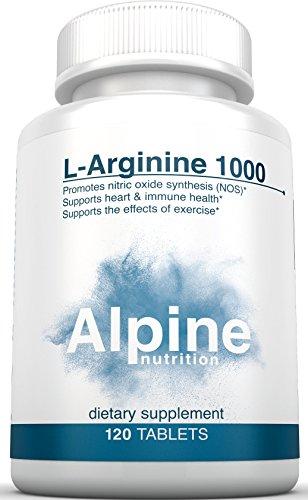 Alpine Nutrition L Arginine HCL 1000mg Tablets - NOS Nitric Oxide Supplements - 120 Count