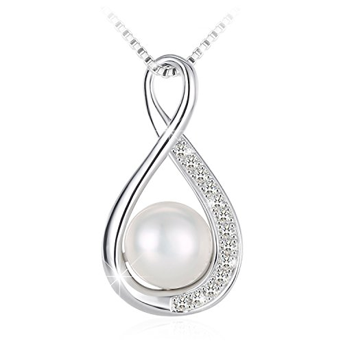 J.Rosée Pearl Necklace, Gifts for Women 925 Sterling Silver Cubic Zirconia Freshwater Cultured Pearl Pendant Necklace Fine Jewelry Infinite Love