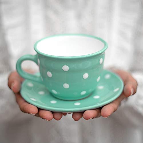 City to Cottage® - Keramik Kaffebecher Teetasse 350 ml | Türkis und Weiß | Polka Dots | Handgemacht | Kaffeetasse mit Untertasse | Cappuccino Tasse