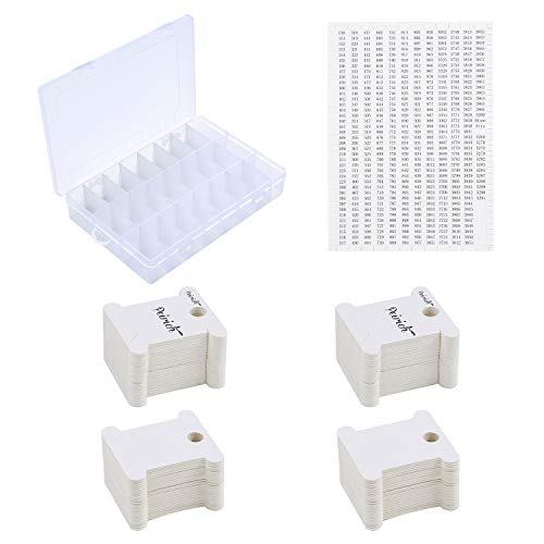 Peirich Stickgarn Organizer Box - 24 Fächer mit 100 Hartseiden-Spulen und 459 Farbnummernaufklebern