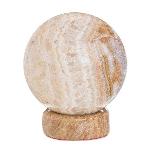 NOVICA Light Brown Calcite and Jasper Natural Gemstone Round Geometric Sculpture, Inner Peace'