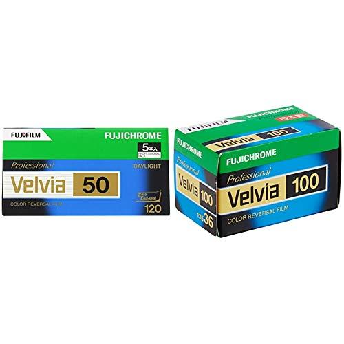 【セット買い】FUJIFILM リバーサルフィルム フジクローム Velvia 50 ブローニー 12枚 5本 120 VELVIA50 EP NP 12EX 5 & FUJIFILM リバーサルフィルム フジクローム Velvia 100 35mm 36