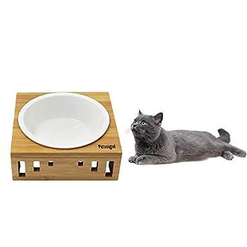 Petsoigné Bol pour Chat et Petit Chien Gamelle Surélevée pour Chat et Chien avec Support en Bambou (1 Bol, Céramique)
