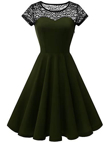 YOYAKER Sommerkleid Cocktailkleid Kleider Damen Elagant Vintage Mit Spitzen Rundhals Kurzarm Cocktail Rockabilly Abendkleid Army Green XS