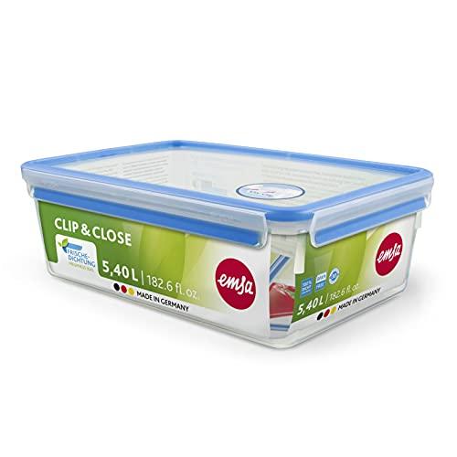 Emsa 508547 Contenitore per alimenti rettangolare con coperchio, 5,5 litri, trasparente / blu, Clip & Chiudi