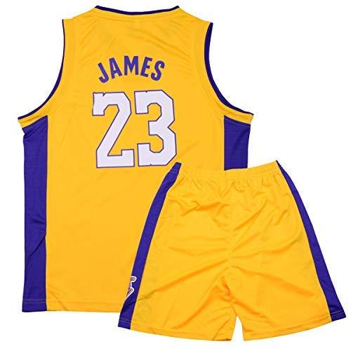 Wywei Bambini Ragazzi Ragazze Uomo Adulto NBA Lebron James #23 LBJ LA Lakers Retro Pantaloncino e Maglia Basketball Jersey Basket Maglie Uniforme Top & Shorts 1 Set (23-Giallo,XXL(Hauteur:160-165cm))