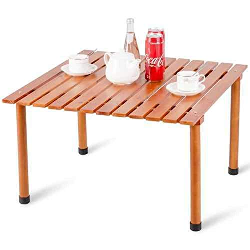 COSTWAY Wood Roll Up Portable Table for Outdoor Camping Picnics Beach w/Carrying Bag
