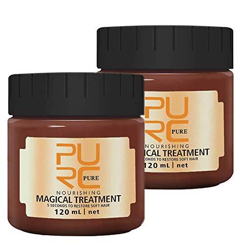 2PCS 120MLMagical Hair Mask, PURC 5 Seconds Repairs Damage Hair Root Hair Tonic Keratin Hair & Scalp Treatment