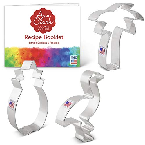 Ann Clark Cookie Cutters 3-Piece Tropical Hawaiian Cookie Cutter Set with Recipe Booklet Pineapple Palm Tree