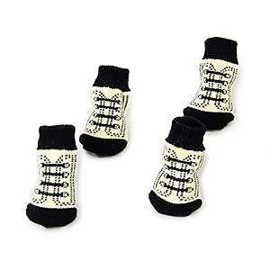 4pcs Chaussettes Antidérapantes Motif de Lacet avec Empreintes de Pattes Mignon Chaussons pour Chien Chiot Chat