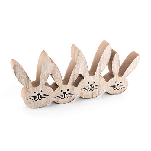 Logbuch-Verlag Figurine de lapin de Pâques en bois - 22 x 11 cm - Marron naturel - Décoration de Pâques à poser - 4 oreilles de lapin - Amusante - Cadeau de Pâques