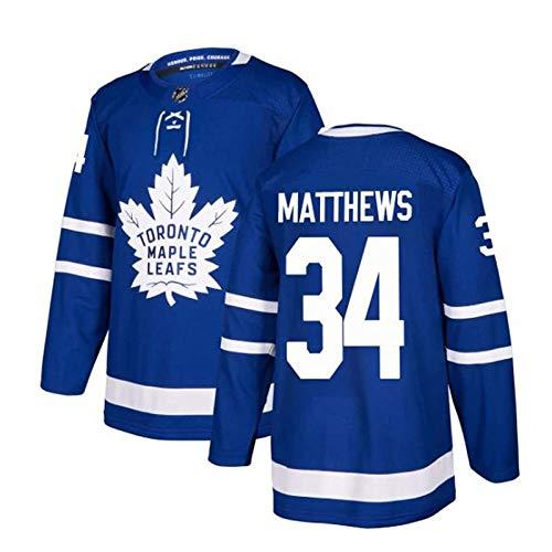 WANGT Herren Eishockey Trikots, Toronto Ahornblätter 44 Rielly 88 Nylander GENÄHTE Buchstaben Zahlen Langarm T-Shirt Atmungsaktive Sweatshirts,34,XL