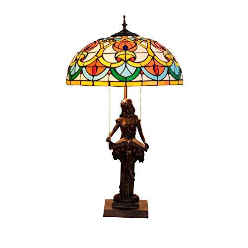 Busirsiz Cristal Estilo retro vector de Tiffany Lámparas Dormitorio Lámparas for Sala de estar Sala de Estudio iluminación del escritorio Lampwith base de resina, de interior (40 * los 59CM) E27,40W e