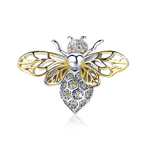 BAMOER Bee Charms for Bracelet 925 Sterling Silver Cubic Zirconia Bee Animal Pendant Necklace for Women Bee Jewelry