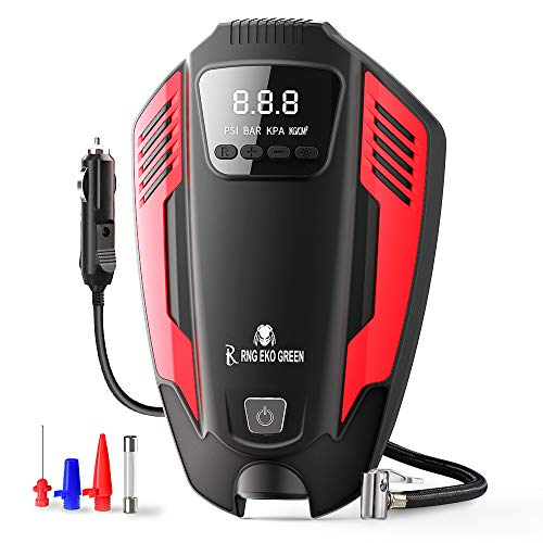 RNG EKO GREEN Digital Heavy Duty Car Air Compressor Tyre Inflator, DC 12V/ 50L Airflow Predator Series Tire Inflator for Car Tires, Bikes, Bicycles & Other Inflatables- (Red+Black)