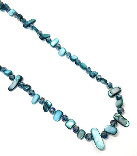 BRANDELIA Collares Largos de Colores Mujer Bisutería de Nácar y Perlas de Cristal, Turquesa