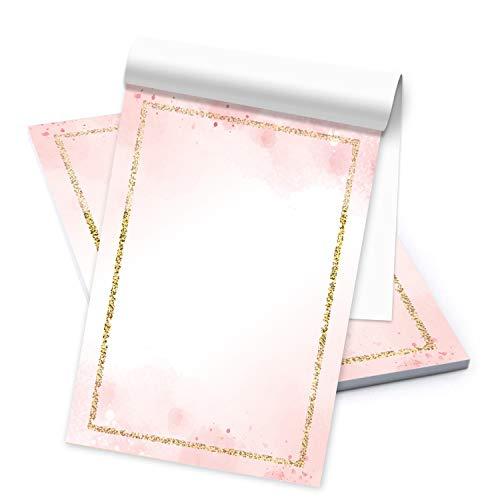 Logbuch-Verlag Briefpapier rosa weiß mit goldenem Rand DIN A5 Briefblock - Motivpapier Block für Einladungen Briefe schreiben Geschenk Kommunion Mädchen