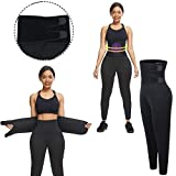 Waist Trainer Compression Leggings for Women I Neoprene Waist Trimmer Sauna Suit Pants with Postpartum Belly Band I Workout Shaper Capri for Weight Loss, Workout, Sweat Enhancer (Black, Large)