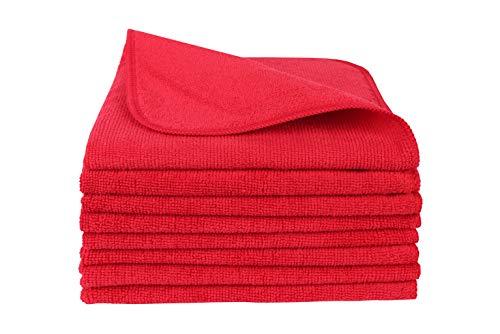 BELLANET Mikrofaser 8 STK. Universaltuch 40x40cm Rote Microfaser Universal-Reinigungstücher für Haushalt, Auto, Gewerbe, Industrie Poliertuch
