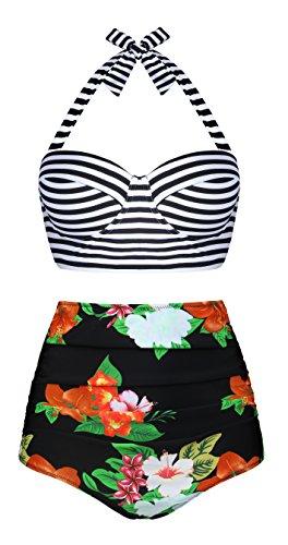 Angerella Donna Vintage Polka Dot A Vita Alta Costume da Bagno Bikini Set (EU48-50=Tag Size 5XL, Arancia(Floreale))