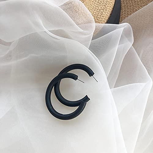 FEARRIN Pendientes para Mujer Stud Diseño clásico Blanco Marrón Madera Forma de C Pendientes de aro para Mujer Joyería Pendientes de Boda Femeninos Joyería de Fiesta Regalos para niña Thinnerblack