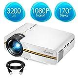 Proyector portátil de vídeo mini Elephas LED, 1080P, ideal para cine en casa, entretenimiento, juegos, fiestas, de color blanco