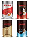 Kit de Paquetes de Café Molido Kimbo con 1 x Antica Tradizione, 1 x Espresso Napoletano, 1 x 100% Arabica Gold y 1 x Decaffeinato (Descafeinado), 4 Latas de 250g