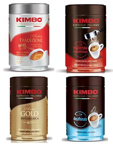 Kimbo gemahlener Kaffee-Set mit 1 x Antica Tradizione, 1 x Espresso Napoletano, 1 x 100% Arabica Gold und 1 x Decaffeinato (Decaf), vier 250g Dosen