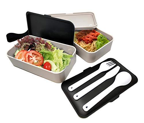 NERTHUS FIH 415 Lunch Box hermétique Double avec Couverts, Acier Inoxydable, Noir/Blanc, Taille Unique
