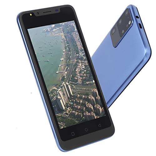 Lazmin112 Teléfono móvil con Pantalla de 5,0 Pulgadas, aplicación de reconocimiento Facial, desbloqueo de Huellas Dactilares, teléfono Inteligente de 512 MB + 4 GB, cámara de Alta definición(Azul)