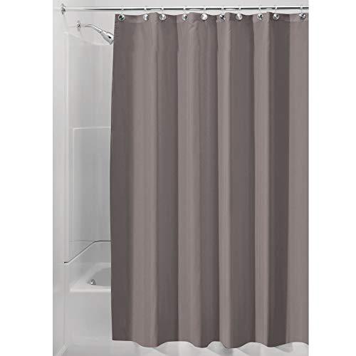 iDesign Duschvorhang aus Stoff, waschbarer Badewannenvorhang aus Polyester in der Größe 180,0 cm x 200,0 cm, wasserdichter Vorhang mit verstärktem Saum, taupe
