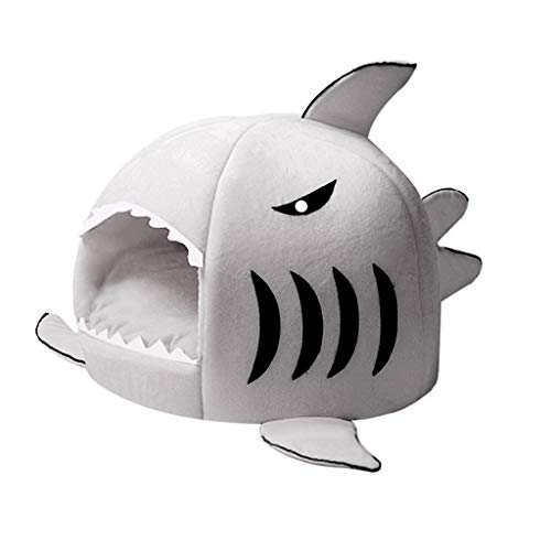 dongyu Detachable Soft Cushion Grey Shark Bed For Small Cat And Dog Cave Bed Shake, Creative Pet Bed Waterproof Bottom Cutest Pet House Pet Gift (Color : Gray, Size : Small)