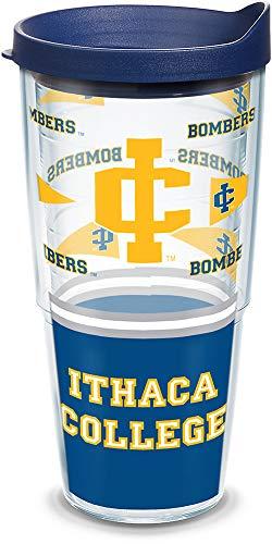 Tervis Copo individual Ithaca College Wrap com tampa azul marinho, 680 g, transparente