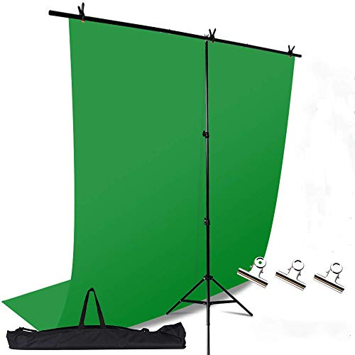 KNGKILQN Green Screen Backdrop with Stand - 5x9FT Photography Backdrop Background with Portable T-Shape Stand Kit Photo Backdrop Support Kit for Photoshoot Video Recording Studio Gaming