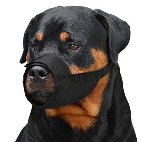 CollarDirect Adjustable Dog Muzzle Small Medium Large Dogs Set 2PCS Soft Breathable Nylon Mask Safety Dog Mouth Cover Anti Biting Barking Pet Muzzles Dogs Black Red (L/XL, 2 Black)