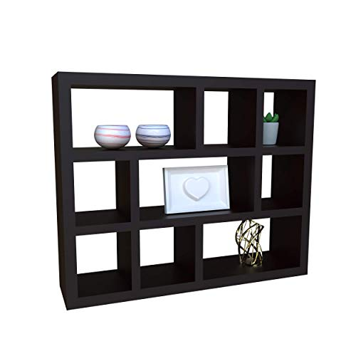 Halter Floating Shelves Wall Mounted 3 Tier Cube Compartments for Decorative Display, Espresso Wood