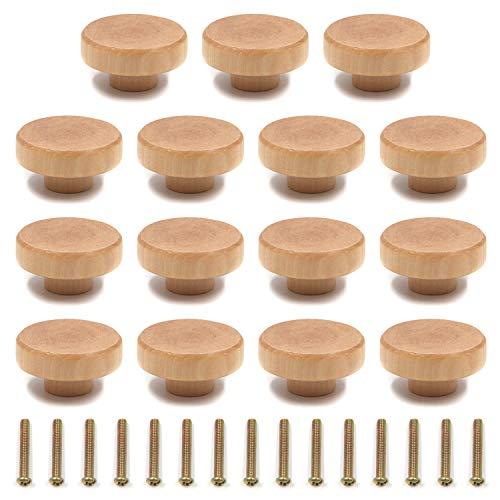 Mironey Runde Holzgriffe für Schränke, Möbel, Schubladen, Kommoden, Kleiderschränke, Schränke, 15 Stück