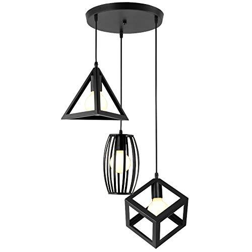 iDEGU 3 Lampes Suspensions Luminaire Design Géométrique Moderne E27 Lustre Suspensions Abat Jour en Métal Plafonnier pour Chambre Salon - Noir