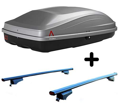 PROPOSTEONLINE Box Tetto Auto + Barre Portatutto Realizzato per Nissan Qashqai (2013) Baule Portapacchi Esterno Elegante aerodinamico Grigio